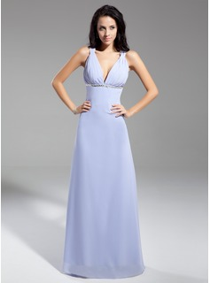A-Line/Princess V-neck Floor-Length Chiffon Evening Dress With Ruffle Sequins Bow(s)
