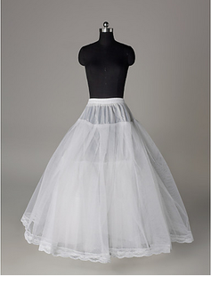 Nylon A-Line Full Gown 3 Tier Floor-length Slip Style/ Wedding Petticoats (037023568)