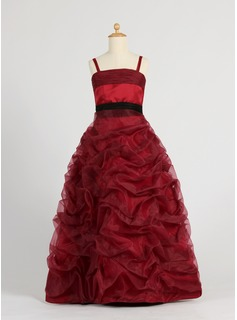 Ball Gown Floor-length Flower Girl Dress - Organza/Satin Sleeveless With Ruffles/Sash/Bow(s)/Pick Up Skirt