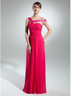 A-Line/Princess Off-the-Shoulder Watteau Train Chiffon Charmeuse Prom Dress With Ruffle Beading (018015333)
