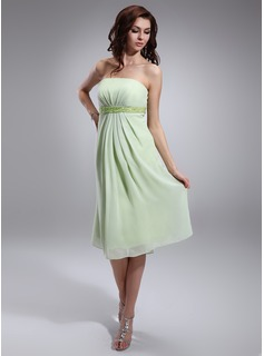Empire Strapless Knee-Length Chiffon Chiffon Maternity Bridesmaid Dress With Ruffle Beading Sequins