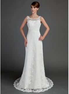 A-Line/Princess Scoop Neck Court Train Satin Lace Wedding Dress (002015709)