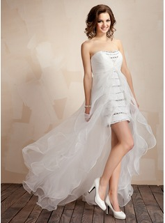 A-Line/Princess Sweetheart Asymmetrical Organza Sequined Prom Dress With Beading