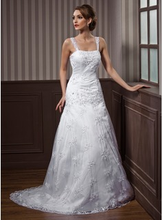 A-Line/Princess Sweetheart Court Train Satin Lace Wedding Dress With Embroidery Beadwork (002012140)