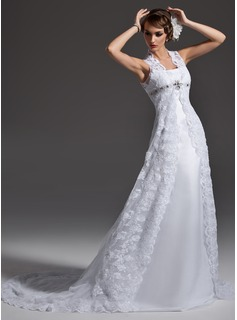A-Line/Princess Square Neckline Court Train Satin Lace Wedding Dress With Beadwork (002001257)