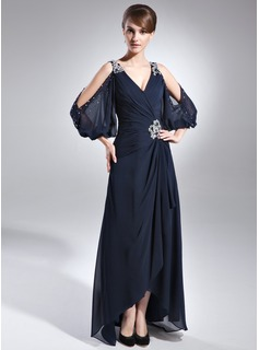 A-Line/Princess V-neck Asymmetrical Chiffon Mother of the Bride Dress With Ruffle Beading (008005761)