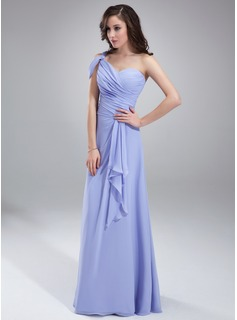 A-Line/Princess One-Shoulder Floor-Length Chiffon Bridesmaid Dress With Ruffle (007018787)