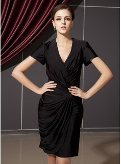Sheath V-neck Knee-Length Jersey Cocktail Dress With Ruffle