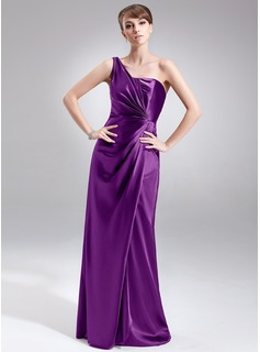 Sheath/Column One-Shoulder Floor-Length Charmeuse Bridesmaid Dress With Ruffle