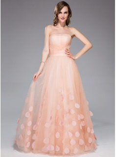 A-Line/Princess Strapless Floor-Length Tulle Holiday Dress With Ruffle Flower(s)