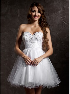A-Line/Princess Sweetheart Short/Mini Tulle Homecoming Dress With Beading (022020899)