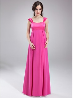 Empire Sweetheart Floor-Length Chiffon Charmeuse Maternity Bridesmaid Dress With Ruffle (045004394)