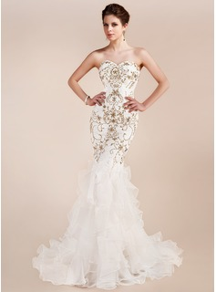 Mermaid Sweetheart Sweep Train Organza Charmeuse Evening Dress With Lace Beading (017019554)