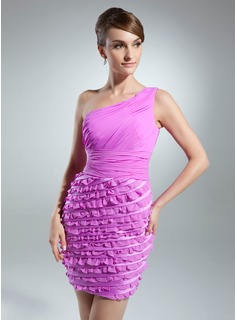 Sheath/Column One-Shoulder Short/Mini Chiffon Cocktail Dress With Cascading Ruffles