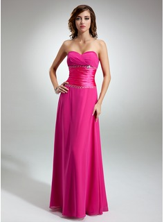 A-Line/Princess Sweetheart Floor-Length Chiffon Charmeuse Bridesmaid Dress With Ruffle Beading