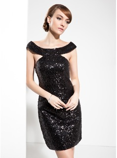Sheath Off-the-Shoulder Knee-Length Sequined Cocktail Dress (016008271)