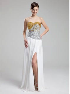 A-Line/Princess Sweetheart Floor-Length Chiffon Prom Dress With Beading Sequins Split Front