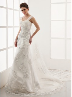 A-Line/Princess Sweetheart Watteau Train Satin Tulle Wedding Dress With Lace Beadwork (002011654)