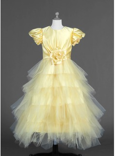 A-Line/Princess Scoop Neck Ankle-Length Tulle Flower Girl Dress With Flower(s) Cascading Ruffles
