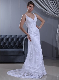 Sheath/Column V-neck Sweep Train Satin Lace Wedding Dress With Ruffle Beadwork (002011630)