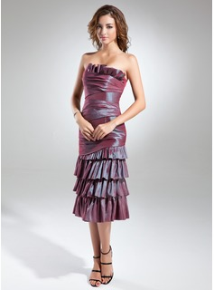 Sheath/Column Scalloped Neck Knee-Length Taffeta Cocktail Dress With Cascading Ruffles