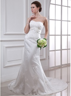 Sheath/Column Sweetheart Chapel Train Satin Tulle Wedding Dress With Lace Beadwork