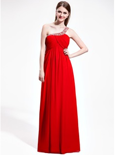 Empire One-Shoulder Floor-Length Chiffon Prom Dress With Ruffle Beading Sequins