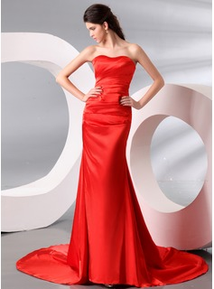 Sheath Sweetheart Court Train Charmeuse Evening Dress With Ruffle (017013995)
