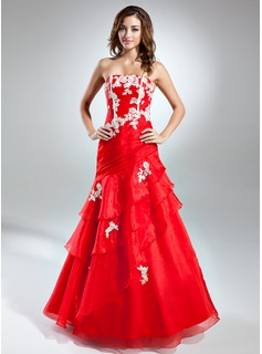 A-Line/Princess Strapless Floor-Length Organza Prom Dress With Embroidered Ruffle (018015528)