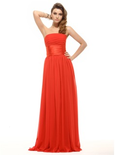 Empire Strapless Floor-Length Chiffon Charmeuse Holiday Dress With Ruffle (020016066)