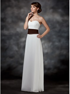 Sheath/Column Sweetheart Floor-Length Chiffon Charmeuse Bridesmaid Dress With Ruffle Sash