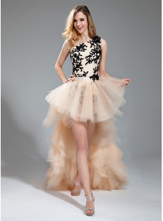 Sheath One-Shoulder Asymmetrical Detachable Satin Tulle Prom Dress With Embroidered Lace Beading