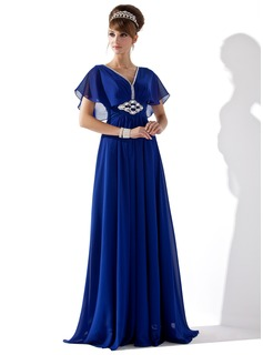 A-Line/Princess V-neck Floor-Length Chiffon Evening Dress With Ruffle Beading