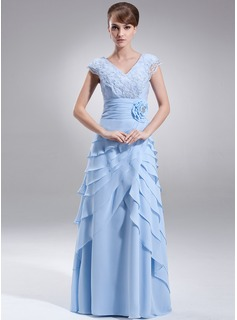 A-Line/Princess V-neck Floor-Length Chiffon Mother of the Bride Dress With Lace Beading Flower(s) Sequins Cascading Ruffles