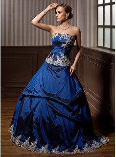 Ball-Gown Strapless Sweep Train Taffeta Quinceanera Dress With Embroidered Ruffle Beading