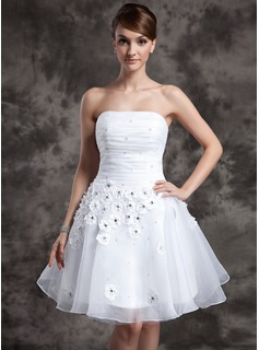 A-Line/Princess Strapless Short/Mini Organza Wedding Dress With Ruffle Beadwork Flower(s) (002024068)