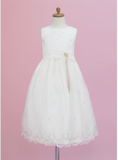 A-Line/Princess Scoop Neck Ankle-Length Organza Flower Girl Dress With Flower(s) Bow(s)
