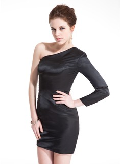 Sheath One-Shoulder Short/Mini Charmeuse Cocktail Dress (016008641)