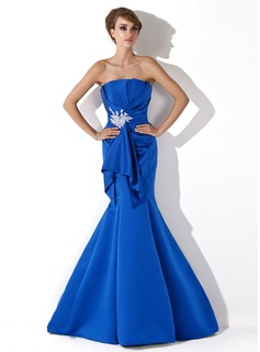 Mermaid Scalloped Neck Sweep Train Satin Evening Dress With Ruffle Beading Appliques