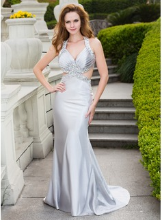 A-Line/Princess V-neck Sweep Train Charmeuse Prom Dress With Beading