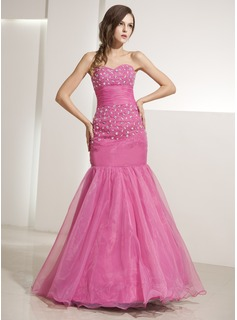 Trumpet/Mermaid Sweetheart Floor-Length Organza Prom Dress With Beading