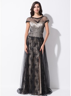 A-Line/Princess Scoop Neck Sweep Train Tulle Charmeuse Lace Evening Dress With Ruffle Beading Sequins Split Front