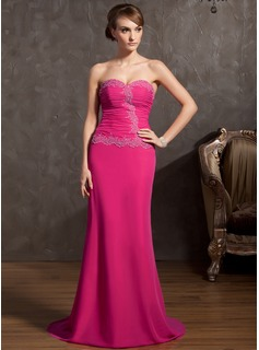 Sheath Sweetheart Sweep Train Chiffon Evening Dress With Ruffle Lace Beading