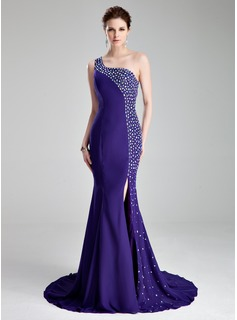 Trumpet/Mermaid One-Shoulder Court Train Chiffon Prom Dress With Beading Split Front