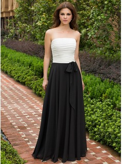 A-Line/Princess Strapless Floor-Length Chiffon Bridesmaid Dress With Ruffle Bow