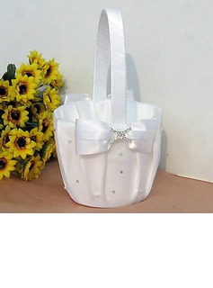 Flower Basket In White Satin With Ribbon Bow And Rhinestone(102018040)