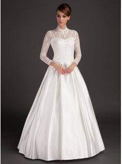 A-Line/Princess High Neck Floor-Length Satin Lace Wedding Dress (002015488)
