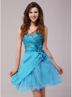 A-Line/Princess Sweetheart Short/Mini Taffeta Tulle Cocktail Dress With Ruffle Beading Flower(s) (016013972)