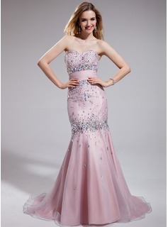 Trumpet/Mermaid Sweetheart Sweep Train Taffeta Organza Prom Dress With Ruffle Beading