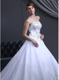 Ball-Gown Strapless Cathedral Train Organza Satin Wedding Dress With Beadwork (002000050)